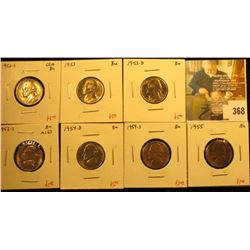 Group of (7) BU Jefferson Nickels, 1952-S, 1953PDS, 1954DS, 1955, all BU, great for a BU album set,