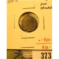 1850-O Seated Liberty Half Dime, G with rim damage, problem free G value $25, value $12