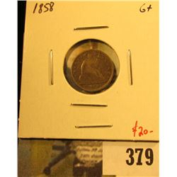 1858 Seated Liberty Half Dime, G+, value $20