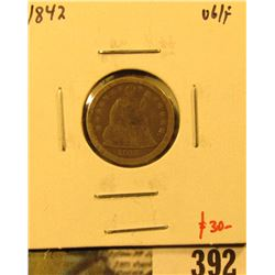 1842 Seated Liberty Dime, VG/F, value $30