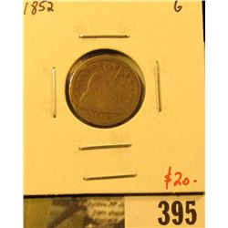 1852 Seated Liberty Dime, G, value $20