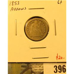 1853 Arrows Seated Liberty Dime, G+, value $20