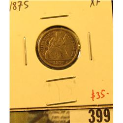 1875 Seated Liberty Dime, XF, value $35