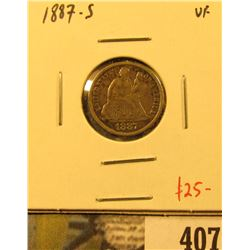 1887-S Seated Liberty Dime, VF, value $25