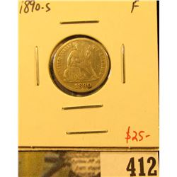1890-S Seated Liberty Dime, F, value $25