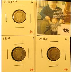 Group of (3) Barber Dimes, 1903-O, 1904, 1905, all G, group value $13