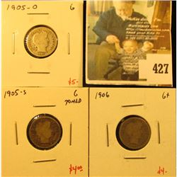 Group of (3) Barber Dimes, 1905-O, 1905-S, 1906, all G, group value $13