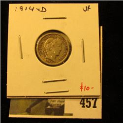 1914-D Barber Dime, VF, value $10