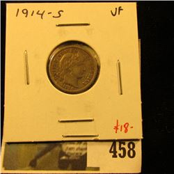 1914-S Barber Dime, VF, tougher grade for date, value $18