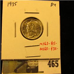 1935 Mercury Dime, BU, MS63=$15, MS65-$35, value $15 to $35