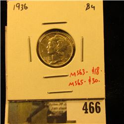 1936 Mercury Dime, BU, MS63=$18, MS65-$30, value $18 to $30