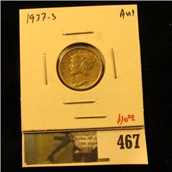 1937-S Mercury Dime, AU+, value $10