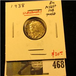 1938 Mercury Dime, BU MS65+ Full Split Bands toned, SCREAMER, value $30+