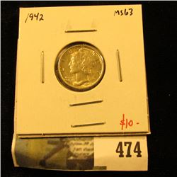 1942 Mercury Dime, BU MS63, value $10