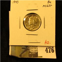 1943 Mercury Dime, BU MS63+, value $12
