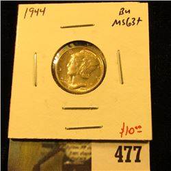 1944 Mercury Dime, BU MS63+, value $10