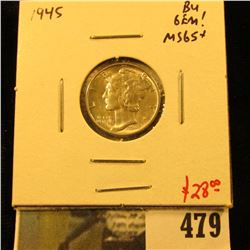 1945 Mercury Dime, GEM BU, MS65+, value $28