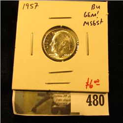 1957 Roosevelt Dime, GEM BU, MS65+, value $6