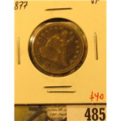 1877 Seated Liberty Quarter, VF, value $40