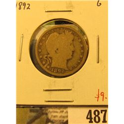 1892 Barber Quarter, G, value $9