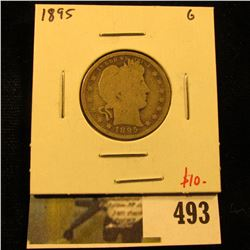 1895 Barber Quarter, G, value $10
