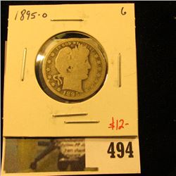 1895-O Barber Quarter, G, value $12