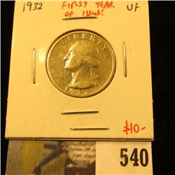 1932 Washington Quarter, VF, first year of issue, value $10