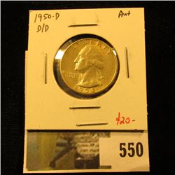 1950-D Washington Quarter, D over D repunched mint mark, AU+, value $20