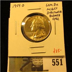 1954-D Washington Quarter, GEM BU MS65+, blast white and blemish free, value $35