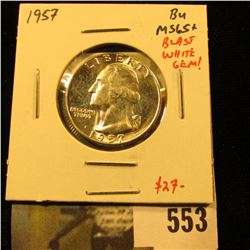 1957-D Washington Quarter, BU MS65+, blast white gem, value $27