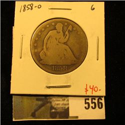 1858-O Seated Liberty Half Dollar, G, value $40