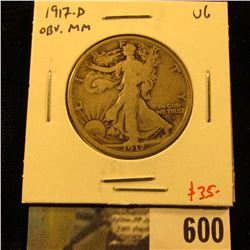 1917-D Walking Liberty Half Dollar, Obverse Mint mark, VG, value $35