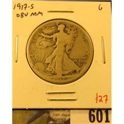 1917-S Walking Liberty Half Dollar, Obverse Mint mark, G, value $27