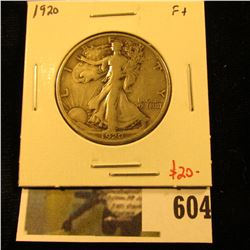 1920 Walking Liberty Half Dollar, F+, value $20
