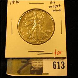 1940 Walking Liberty Half Dollar, BU MS63+, NICE, value $55