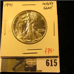 1941 Walking Liberty Half Dollar, BU MS64+, Gem, value $75+