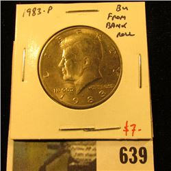 1983-P Kennedy Half Dollar, BU from bank roll, no Mint Sets issued in 1982 or 1983, scarce in BU, va