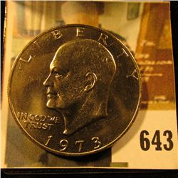 1973 Eisenhower Dollar, BU from Mint Set, value $13 to $65