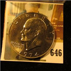 1974 Eisenhower Dollar, BU from Mint Set, value $6 to $60