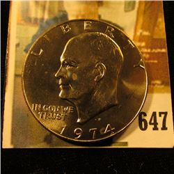 1974-D Eisenhower Dollar, BU from Mint Set, value $6 to $38