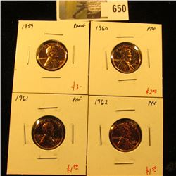 Group of (4) PROOF Lincoln Cents, 1959, 1960, 1961, 1962, group value $8