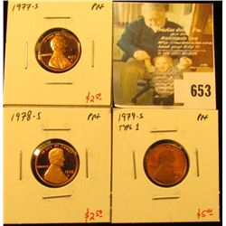 Group of (3) PROOF Lincoln Cents, 1977-S, 1978-S, 1979-S type 1, group value $10