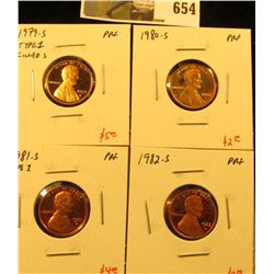 Group of (4) PROOF Lincoln Cents, 1979-S type 1, 1980-S, 1981-S type 1, 1982-S, group value $14