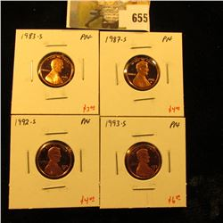 Group of (4) PROOF Lincoln Cents, 1983-S, 1987-S, 1992-S, 1993-S, group value $17+