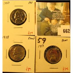 Group of (3) PROOF Jefferson Nickels, 1957, 1958, 1959, group value $14