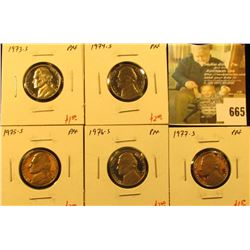 Group of (5) PROOF Jefferson Nickels, 1973-S, 1974-S, 1975-S, 1976-S, 1977-S, group value $9