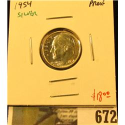 1954 Silver PROOF Roosevelt Dime, value $18
