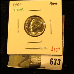 1955 Silver PROOF Roosevelt Dime, value $15