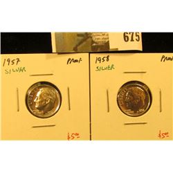 (2) Silver PROOF Roosevelt Dimes, 1957 & 1958, pair value $10
