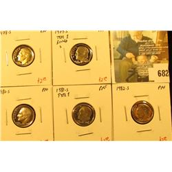 (5) PROOF Roosevelt Dimes, 1978-S, 1979-S type1, 1980-S, 1981-S type 1, 1982-S, group value $12+